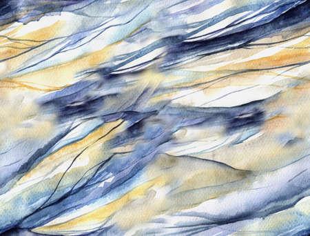 水彩スポットと抽象的なシームレス パターン。あなたの設計のための背景として水彩画。滑らかな波のテクスチャです。 写真素材