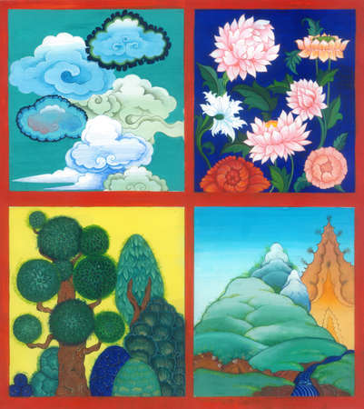 4 scene on the theme of nature: clouds, flowers, trees, mountains. Art illustration gouache.