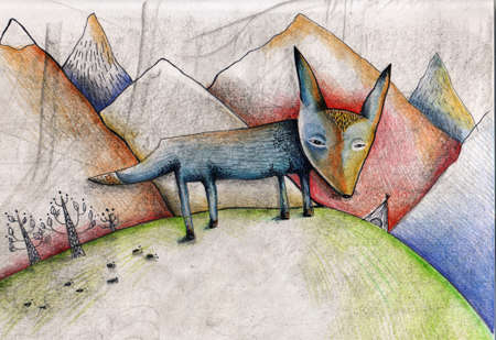 Pencil illustration of fox, mountains. Conceptual illustration of sadness, loneliness, searching for answers.