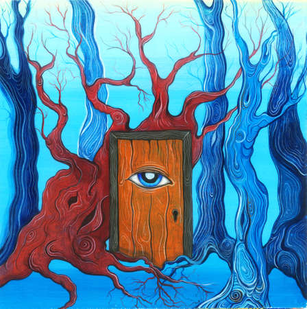 awakening: Magic door with eye in the deep forest. Illustration of the forest and the door to the dream, to knowledge, to awakening. Gouache painting Stock Photo