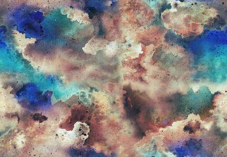 Handgemaltes helles nahtloses Muster des Aquarells mit Glühengalaxie, Raum. Abstrakter Hintergrund. Standard-Bild - 86934358