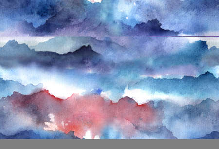 Hand painted Watercolor bright seamless pattern with abstract mountains, clouds.