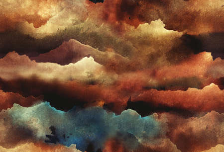 Hand painted Watercolor bright seamless pattern with abstract mountains, clouds, space. Archivio Fotografico