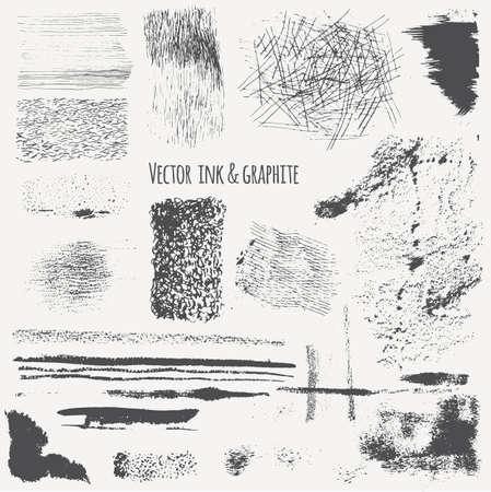 encre: textures dessinées à la main à l'encre, le graphite, le charbon de bois. Vector set avec de l'encre ombrage, des lignes, des traits, des taches, des boucles. Isolé.