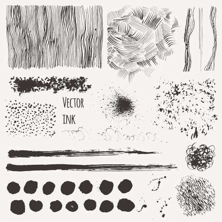 Hand Drawn textures made with ink. Vector set with ink shading, lines, strokes, stains, curls. Isolated. Illustration