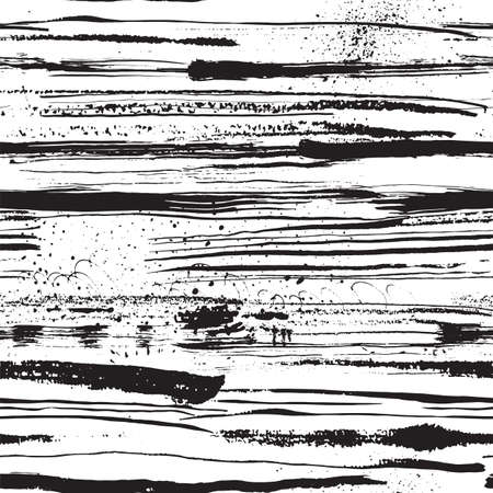 clipping mask: Hand Drawn textures made with ink. Vector seamless pattern with ink stripes, shading, lines, strokes, stains, curls, inkblots. You can use it with clipping mask in photoshop. Illustration