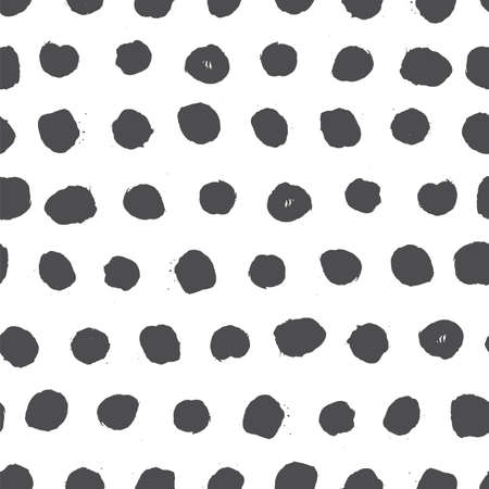 Hand Drawn textures made with ink. Vector seamless pattern. Abstract background with round brush strokes and circle spots. Stylish polka dot