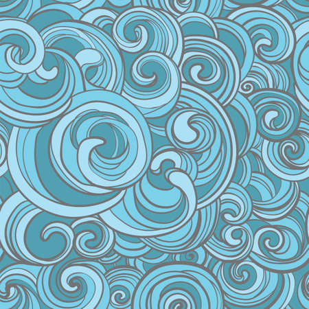 Hand drawn vector seamless pattern with curls, swirls, spirals.