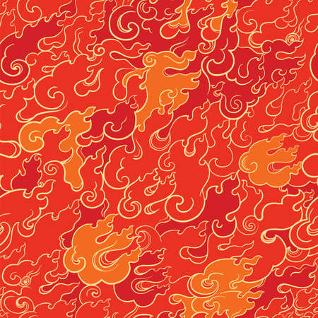 Abstract seamless vector pattern with red fire. Asian style. Template for design