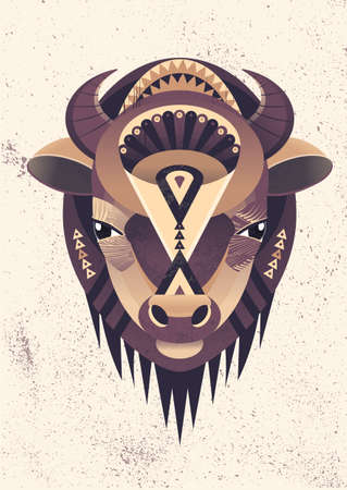 shapes cartoon: Vector illustration of buffalo head. Vector poster with bison in geometric style. Illustration