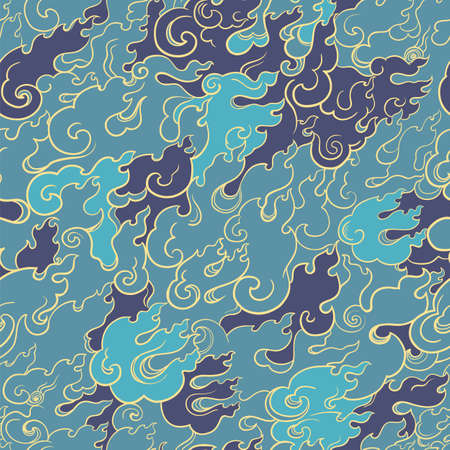 Abstract seamless vector pattern with blue fire. Asian style. Template for design