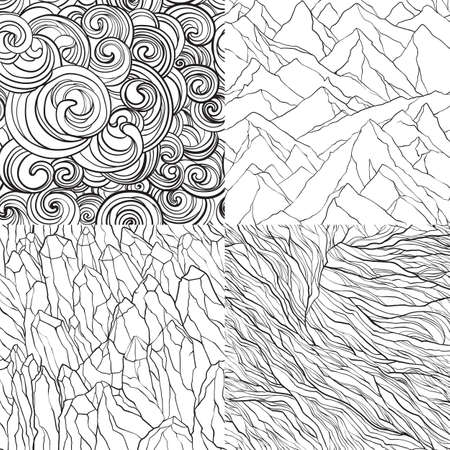 Vector set of seamless patterns with mountains, crystal stones, curls and lines. Contour illustrations.