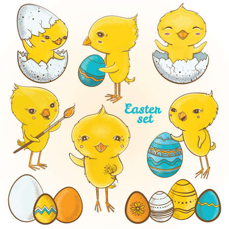 Vector set with illustrations of cute spring chickens cartoon characters. Happy easter set. Easter eggs chicks.