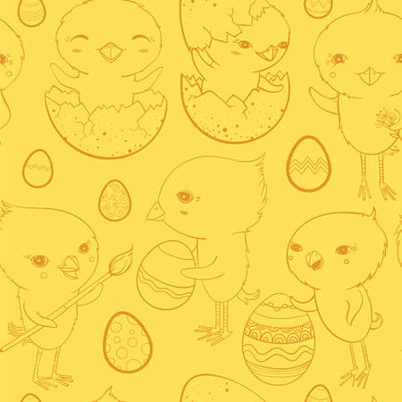 Vector seamless pattern with funny cute chicks and easter eggs. Easter celebration. Illustration