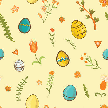 easter seamless pattern with flowers and eggs