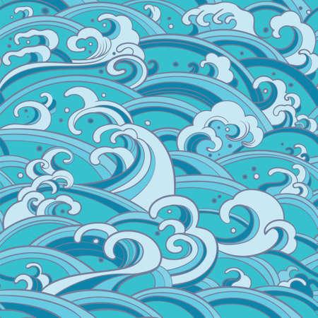 Traditional oriental seamless pattern with ocean waves, foam, splashes. sea backdrop Illustration