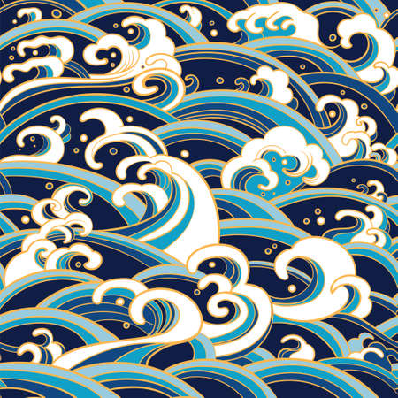 Traditional oriental seamless pattern with ocean waves, foam, splashes. Çizim