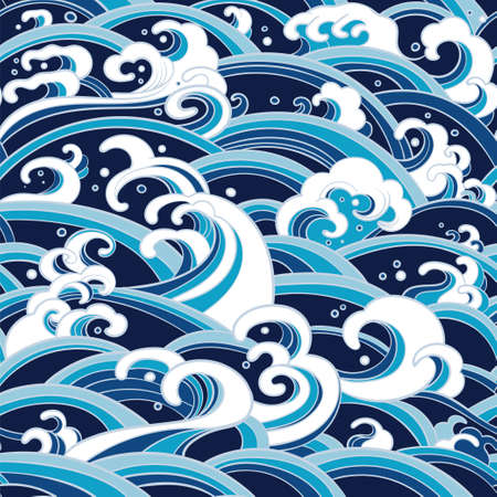 Traditional eastern seamless pattern with waves of water, foam, splashes. sea backdrop