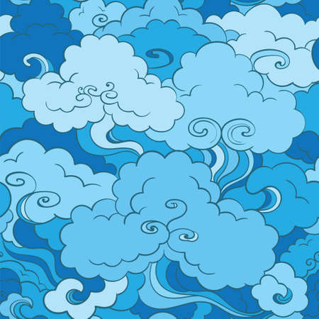 traditional asian blue seamless patterns with clouds and sky. Oriental motif. Hand-drawn illustration Illustration