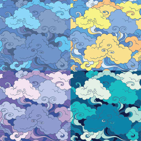 Traditional asian seamless patterns with clouds and sky. 4 color variants. Oriental motif.