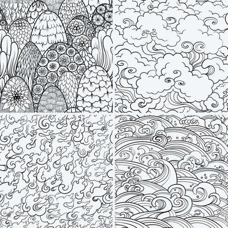 buddhist: set of seamless patterns with waves, fire, clouds and bushes. Contour illustrations. Asian theme. Nature background, 4 elements.