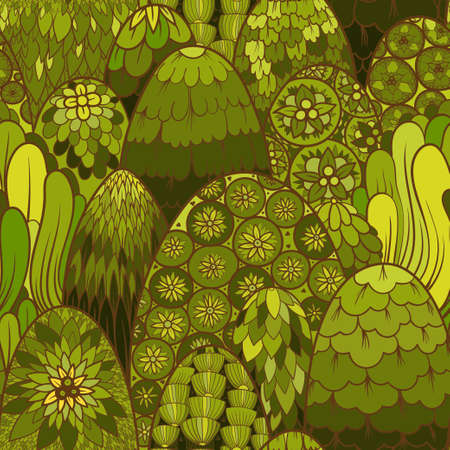 Stylized seamless pattern with green trees and bushes. botanical background. Asian theme