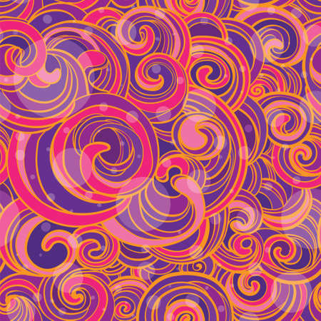seamless pattern with bright pink and violet whorls.