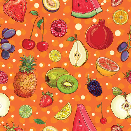 seamless pattern with bright juicy fruits and berries. Template for design Illustration