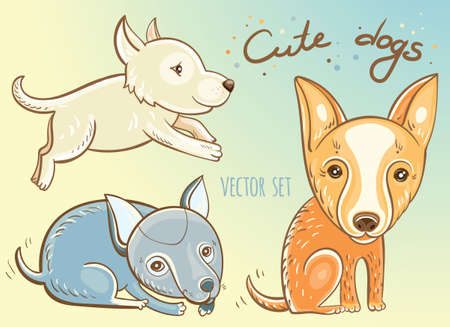 wag: Funny cartoon dogs.  illustration of  cute puppies.