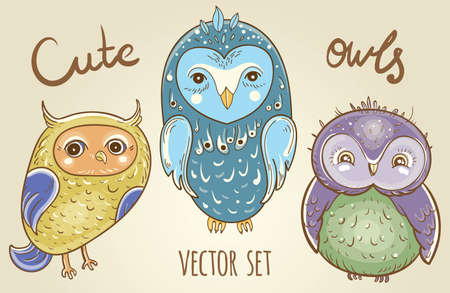 Cartoon set with cute owls. Illustration