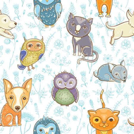 seamless pattern with cute dogs, cats, owls on the floral background. Illustration