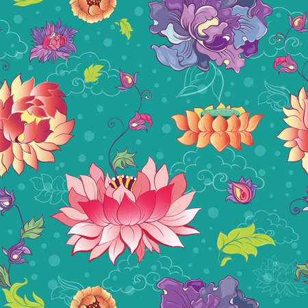 Seamless pattern with lotus flowers, peonies and chrysanthemums. Oriental, asian motif Illustration