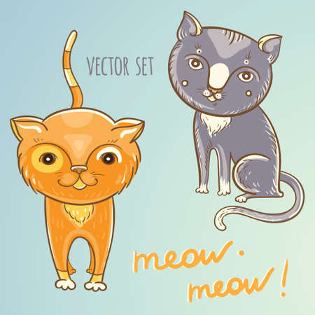 Cartoon illustration of cute cats or kittens. Illustration