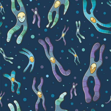 Vector cartoon illustration of Chromosomes. Cheerful seamless pattern for school. Stock Vector - 65791806