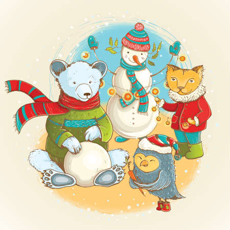 Cartoon illustration of sculpt of snowman in winter with funny animals.  cute christmas card with funny characters.