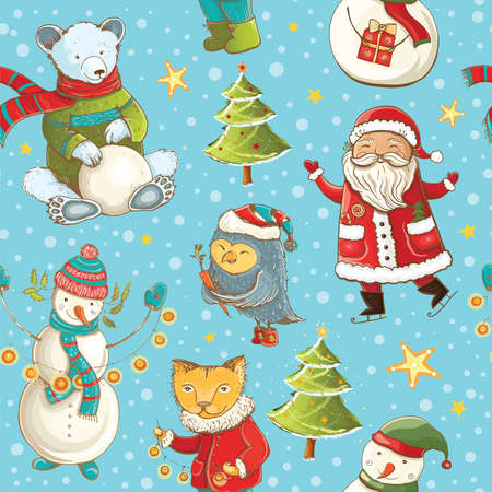 Seamless vector pattern with Santa Claus, snowman, christmas tree and cute animals. Tileable cartoon christmas background. Illustration