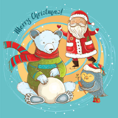 Cartoon illustration of sculpt of snowman in winter with cheerful Santa, bear and owl. Vector cute christmas card with funny characters. Stock Vector - 69686589