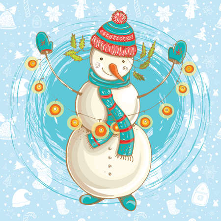 Vector color bright Christmas template for design with illustration of happy snowman. Hand-drawn cute illustration with seamless background.