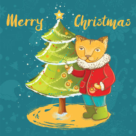 Vector template for christmas card with cute kitten decorate christmas tree. Ilustrace