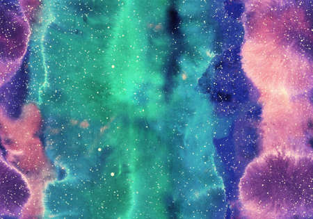 Hand painted Watercolor bright seamless pattern with abstract galaxy, cosmos and luminescence. Texture for textiles, packaging, greeting cards, scrapbooking.