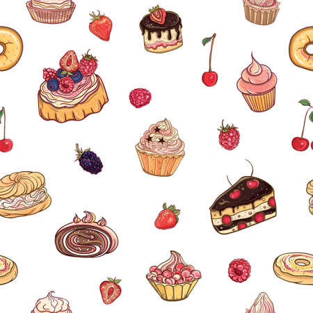 sweet pastries: Seamless pattern Time for sweet. Vector colorful, delicious background with cakes, pastries, cupcakes and donuts on white backdrop. Illustration