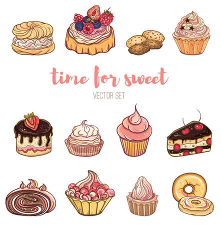 Set of berry, chocolate cakes with cream. Bright vector illustration of pastries and sweets. Isolated objects. Stock Vector - 70775230