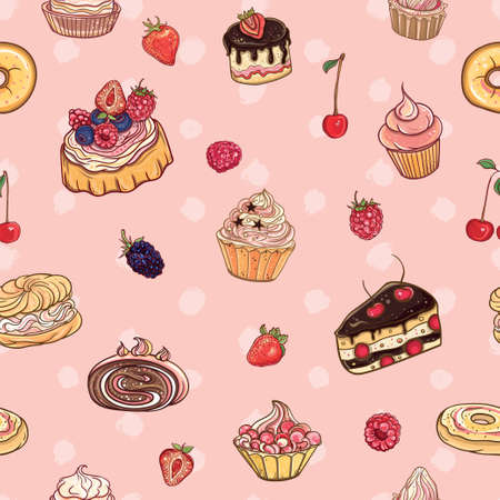 Seamless pattern Time for sweet. Vector colorful, delicious background with cakes, pastries, cupcakes and donuts on polka dot backdrop.