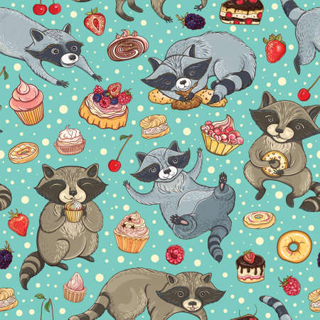 Vector seamless pattern with cute sweet-tooth raccoons, cakes and berries. Bright tasty background for design. Stock Vector - 70970880