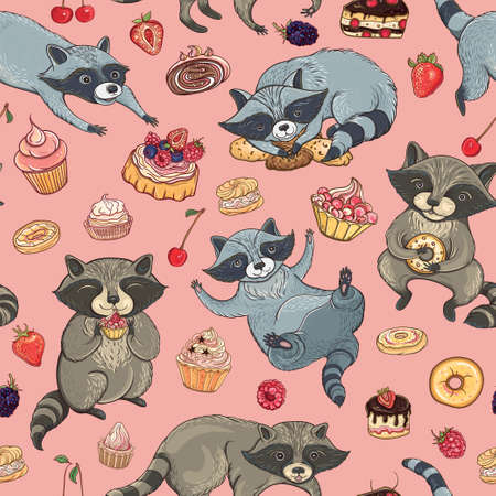 Vector seamless pattern with cute raccoons, cakes and berries. Bright template for design. Childish background.