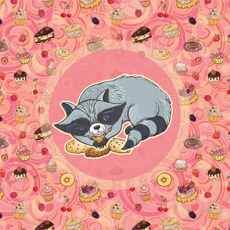 Vector illustration of sweet-tooth raccoon with cookies on bright background with cakes. Template for card and graphic design. Ilustrace
