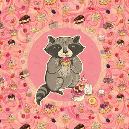Vector illustration of sweet-tooth raccoon with cake on bright background with sweet pastry. Template for postcard and graphic design.
