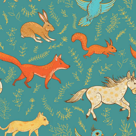 Vector seamless pattern with cute animals: fox, rabbit, horse, pony, cat, squirrel, bird and plants. Natural vernal backdrop. Template for graphic design, textile and postcards Stock Vector - 72315723