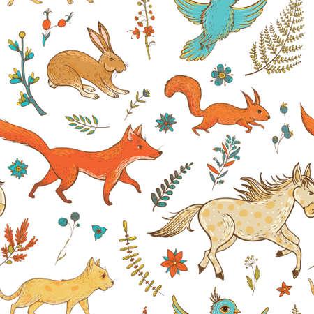 귀여운 동물들과 함께 벡터 원활한 패턴 : 여우, 토끼, 말, 조랑말, 고양이, 다람쥐, 조류 및 식물. 자연 vernal 배경입니다. 그래픽 디자인, 섬유 및 엽서