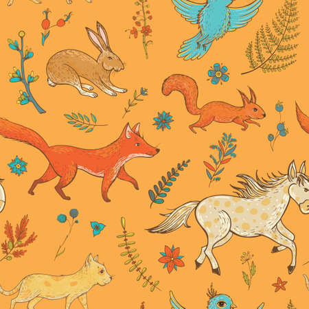 Vector seamless pattern with cute animals: fox, rabbit, horse, pony, cat, squirrel, bird and plants. Natural vernal backdrop. Template for graphic design, textile and postcards